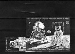 USS-Raumfahrt 1990 Bulgarien 3876+Block 213 O 3€ Astronaut Auf Dem Mond Mondlandung Bloc Ss Space Sheet Bf Bulgaria - Blocks & Kleinbögen