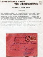 FRANCE CARTE POSTALE CENSUREE DEPART DENAIN 28-10-41 RETOURNEE POUR AFFR. INSUFFISANT PUIS REEXPEDIEE DE DOUAI 30-10-41 - Marcophilie (Lettres)