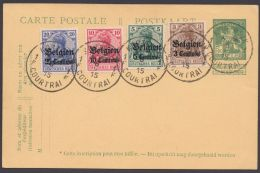 """Belgien : MiNr. 1/4 Als Zusatzfr. Auf Belg. GS """"Courtrai"""", 6.2.15 - Besetzungen 1914-18"""