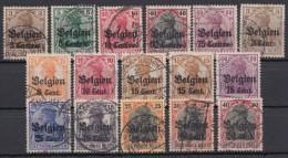 """Belgien : """"Germania"""", 16 Versch. Aufdruckwerte, Meist Bedarf - Besetzungen 1914-18"""