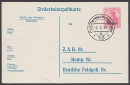 """Etappe West : P 9, Stempel """"Postüberwachungsstelle 33"""", 6.6.18 - Besetzungen 1914-18"""