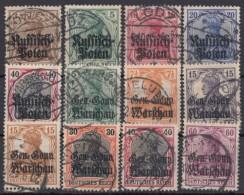 Post Polen : 12 Versch. Werte Aus 1/16, Saubere Stempel - Besetzungen 1914-18