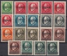 """Aus 18/26 """"Bayern-Sarre"""", 19 Werte Mit Besseren, Alle Falzrest * - 1920-35 Saargebiet – Abstimmungsgebiet"""