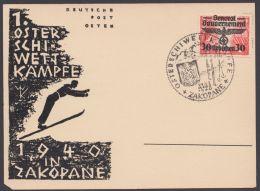 """Generalgouvernement : 30, EF Auf Sonderkarte """"Schiwettkämpfe 1940"""", SSt. - Besetzungen 1938-45"""