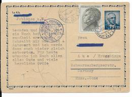 1949 - CARTE ENTIER Avec CENSURE De JABLONEC  => AUE (ALLEMAGNE ZONE SOVIETIQUE) - Postal Stationery