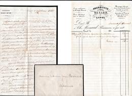 1858 - LUNEL - PHARMACIE MENARD - L.A.S. (horreurs De La Pendaison) Et Facture - Documenti Storici