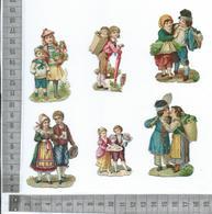CHROMO DECOUPIS GAUFRÉE / LOT DE 6 MOTIFS COUPLES, AMOUREUX, ENFANTS - Enfants