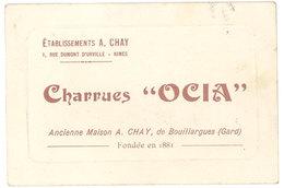 """Carte Commerciale Charrues """" Ocia """", Bouillargues ( Gard ), Ets A. Chay - Publicités"""