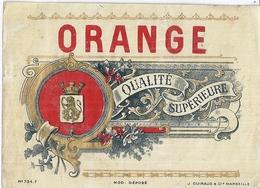 ETIQUETTE  ORANGE  QUALITE SUPERIEURE    9X12CM  N°743F -ED. J. GUIBAUD & Cie MARSEILLE - Alimentaire