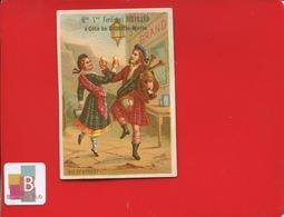 NIMES Ferdinad Bertrand Rue Aspic Lamolle Merle CHROMO Pitron Circa 1880 Ecosse Danse Brandy Alcool Cornemuse Ecossais - Chromos