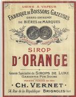 ETIQUETTE- SIROP D'ORANGE- CH. VERNET  BRIGNOLES  FABRIQUE DE BOISSONS GAZEUSES - Alimentaire