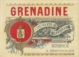 ETIQUETTE- SIROP  DE GRENADINE  ROSBOCK    - CH. VERNET  BRIGNOLES  FABRIQUE DE BOISSONS GAZEUSES - Alimentaire