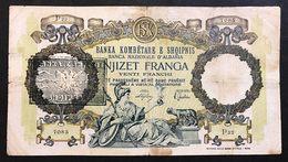 Banca Nazionale Albania 20 Franga 1939 Sovrastampato  LOTTO 977 - Non Classificati