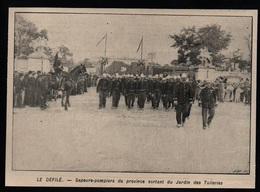 1906  --  SAPEURS POMPIERS DE PROVINCE AUX TUILERIES   3P458 - Non Classés