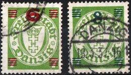 DANZICA, DANZIG, GERMANIA, ANTICHI STATI, STEMMI, COAT OF ARMS, 1934-1935,  USATI   Michel 240,241    Scott 211,212 - Dantzig