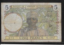 A.O.F.  5 Francs - 10-3-1938 - Pick N°21 - TB - Billets