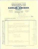 CAMILLE GARNIER BAGNOLS-SUR-CEZE 1962  FACTURE + PETIT COURRIER - Agriculture