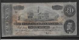Etats Unis - Conférés Richmond 20 Dollars - Pick N°61 - TB/TTB - Devise De La Confédération (1861-1864)