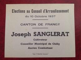 Élections Canton De Frangy 1937 Sanglerat Conseiller De Chilly - Vieux Papiers