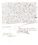 DE BRIEUX.2 Pages Manuscrites Signées.28 Octobre 1740.Lettre à Monsieur Du Motté à Vignats. - Autographes