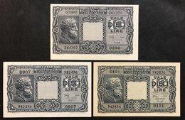 10 LIRE GIOVE 1944 3 Decreti Q.fds/FDS  LOTTO 1011 - Italia – 10 Lire