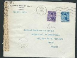 Lettre D'egypte Par Avion + Censure  En 1949 Affranchie Pour La France  - Af27809 - Poste Aérienne