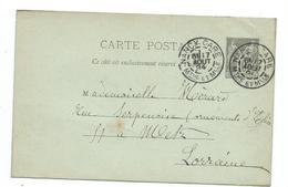 Superbe Obliteration Daguin De Nancy-gare Meurthe Et Moselle Sur Entier Sage - Marcophilie (Lettres)