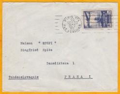 1936 - Enveloppe De Paris 124 Vers Prague, Tchécoslovaquie  - YT 320 Seul Conquête Atlantique Sud - Marcophilie (Lettres)
