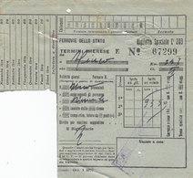 TERMINI IMERESE  /   Biglietto Ferroviario _ 25 Maggio 1943 - Treni
