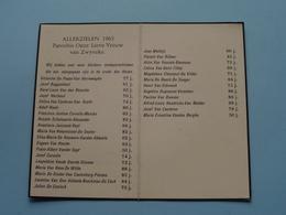 ALLERZIELEN 1965 - Parochie Onze Lieve Vrouw Van ZWYVEKE ( Consummatum Est / LT 1415 ) ! - Avvisi Di Necrologio