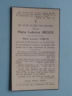 DP Maria BROOS ( Alfons GOBEYN ) 11 Juli 1874 Borgerhout - 22 Juni 1943 Deurne ! - Avvisi Di Necrologio