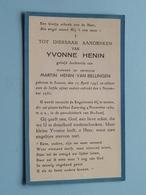 DP Yvonne HENIN ( Dochtertje Van Martin Henin-Van Bellingen ) Leuven 19 April 1943 - 2 Nov 1950 ! - Avvisi Di Necrologio