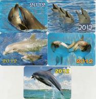 Calendars Russia - 2012 - 5 Pcs.  - Dolphins - Sea - Advertising - Beautiful - Animals - Calendars