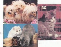 CALENDARIC. 1982 CIRC. CAT AND DOG 3 Pieces. RUSSIA. *** - Calendars
