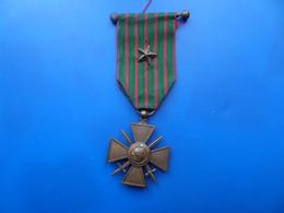 Croix De Guerre 14-18 Avec Citation Et Barette A Boule , Medaille , Medaille WW1 - France