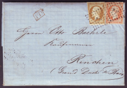 """SEINE ET MARNE - LAC - La Ferté Sous Jouarre + Griffe """"PI°"""" Sur N° 13 + N° 16 -> Renchen (Duché De Bade, Allemagne) - 1849-1876: Periodo Clásico"""