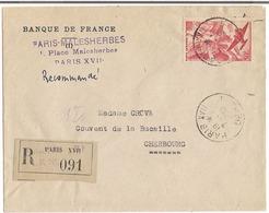 Lettre Recommandée Paris 1949 Destination Cherbourg ( Timmbre Poste Aérienne ) - 1921-1960: Periodo Moderno