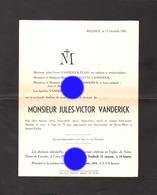 WEGNEZ  Pepinster  1942 Mr Jules Victor VANDERICK ELIAS - Avvisi Di Necrologio