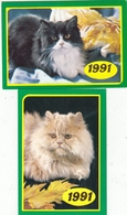 CALENDARIC. 1991 THE PERFECT CATS. RUSSIA. 2 PIECES *** - Calendars
