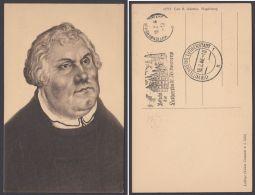 """Luther :  AK Mit Lutherportrait Von Cranach, 2 Versch. Stempel """"Wittenberg, 18.2.46 - Christentum"""