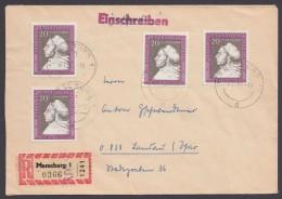 """Luther :  DDR 1317, """"Luther-Ehrung"""", 1967, MeF Mit 4 Werten Auf R-Brief - Christentum"""