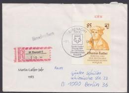 """Luther :  DDR  2757, EF, R-Brief """"Eisenach"""", Pass. Sst """"Luther"""", 1983 - Christentum"""