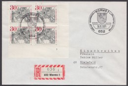 """Luther : """"Wormser Reichstag"""", Bund ER-4er Block Mit Form-Nr. Auf R-Brief, Pass. Sst. - Christentum"""