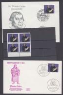 """Luther :  """"Luther-Gedenken"""", 1983, 2 Versch. FDC Mit Pass. Sst Und 4er Block Der Marke ** - Christentum"""