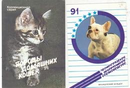 CALENDARIC. 1991 PIECE CATS AND DOGS. RUSSIA. 2 Pieces. *** - Calendarios