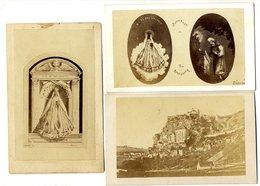 46  ROC AMADOUR  -  3 PETITES PHOTOS SUR UN SUPPORT CARTONNE  -  VERS 1880 - Rocamadour