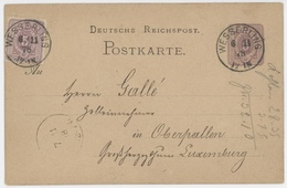 Entier Wesserling 6.11.1878 Pour Oberpallen Luxembourg - Alsace-Lorraine