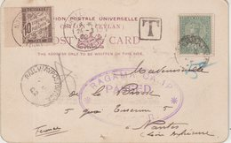 CEYLAN : CP . D'UN PG . AU CAMP DE RAGAMA . CENSUREE ET TAXEE . 1902 . - Ceylon (...-1947)