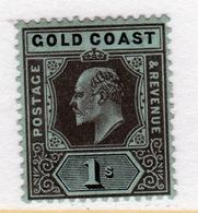 Gold Coast Edward VII 1907 One Shilling Black/Green Mounted Mint Stamp. - Gold Coast (...-1957)