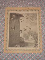 Couverture Illustrée D'ancien Cahier D'écolier - Les Hirondelles - Scènes Pittoresques - Fin XIXe - Blotters